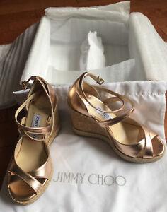 NIB JIMMY CHOO ALANAH105 Ballet Pink Metallic Napa w/Metallic Braid Trim Wed38.5
