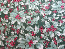 2 yd cotton -- green holly print - R.E.D. International for JoAnn Fabrics