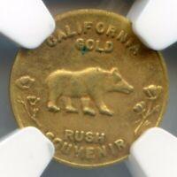 1849 Calif Gold Token / Gold Rush Souvenir / NGC MS62 HR8 / Top Pop POP1
