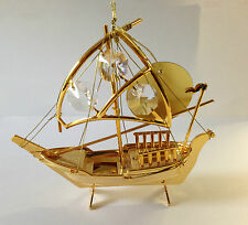 Fischerboot mit Swarowski Kristallen Bestückt Gold Plattiert Boot Schiff 10,5 cm