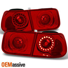 96-00 Civic 2Dr Coupe Red Lens LED Ring Tail Lights Brake Lamps Repalcement Pair