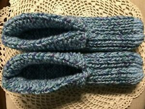 New Amish Handmade Hs Slippers w/Cuffs Blue Mix Mix Wms 3X Lg Mans 2X Lg 11 1/4""