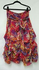 JOE BROWNS RED FLORAL HITCHED HEM BOHO SKIRT SIZE 14 WOMENS FLORAL SKIRT