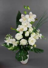 Orchideen- Rosenstrauß 60x42cm weiß-creme LM Kunstblumen künstlicher Strauß