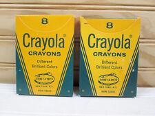 2 Vtg Crayola Crayons Brilliant Colors No. 8 Binney & Smith Set In Box Usa Lot