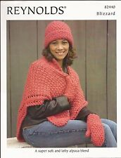 Blizzard Shawl, Hat, Mittens Reynolds Knitting Pattern #82440 - Pattern Only