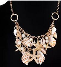 Betsey Johnson Necklace Beach SEA SHELLS Gold Enamel Crystal Choker Gift Box Bag