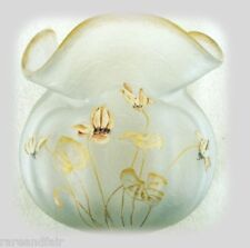 French cameo art glass vase with enamelled flowers FREE SHIPPING
