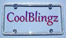 2 Row Crystal AB Rhinestone Diamond Sparkle Bling Metal License Plate Frame