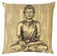 "NEW 18"" BUDDHA SITTING BELGIAN TAPESTRY CUSHION COVER WITH ZIP CLOSURE, 4985"
