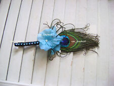 Peacock feather~maliblu blue~hydrangea Boutonniere~Groom~Prom~Party~Quinceanera