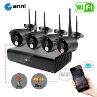 anni Wireless 4CH 1080P NVR Smart Detect IR Home WiFi IP Security Camera System