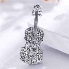 Women Gold Silver Plated Crystal Violin Scarf Brooches Rhinestone Brooch MJ