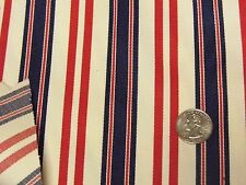 """Vintage Red Navy Creamy White Stripe Cotton Duck Upholstery Fabric 45""""x 45"""""""