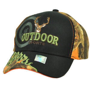 Outdoor Sports Orange Camouflage Camo Flames Camping Camp Deer Hat Cap Hunting