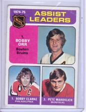 1975-76 TOPPS ASSIST LEADERS 209 ORR BRUINS, CLARKE FLYERS, MAHOVLICH CANADIENS