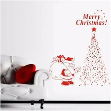 Merry Xmas Tree Santa Stars Wall Sticker Removable Vinyl Wall Decal Decor Mural