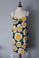 Diane von Furstenberg Yellow Navy Floral 100% Silk Sun Dress, Women's 4