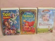 Lot of 3 Disney VHS Movies Pollyanna, Toy Story and Little Mermaid Masterpiece