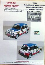 V184 AUTOBIANCHI A112 22° RALLY MOUNTED CARLO 1976 JP MALCHER DECALS VIRATE
