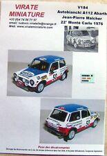 V184 AUTOBIANCHI A112 22° RALLYE MONTE CARLO 1976 JP MALCHER DECALS VIRATE