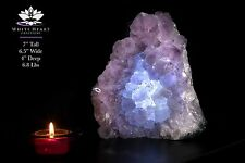 "7"" Brazilian Amethyst Geode Cluster Crystal Lamp #AL-517-1"