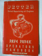 @Vintage Petter Diesel Engine PAV4 PAV4K Operators Handbook@