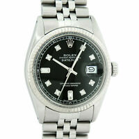 Rolex Mens Datejust Watch Oyster Perpetual S/Steel-White Gold Black Diamond Dial
