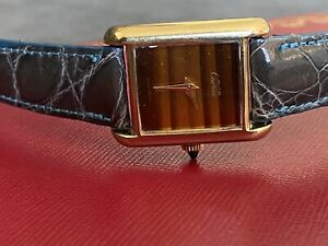 VINTAGE MUST de CARTIER 18k Gold Electroplated WOODEN Dial 70s 22mm Ladies watch