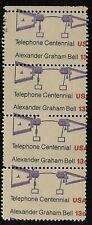 1976 Telephone Centennial #1683 ERROR Miscut Strip of 4 - MNH