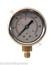 """Oil Pressure Gauge 20 Bar Glycerine Filled 1/8"""""""