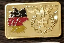 WWII WW2 German Afrika Korps Panzer Tri Colored Gold plated Bar Iron Cross