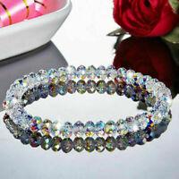 Crystal Aurora Borealis Transparent Geometric Beads Bracelet Bangle Xmas Gift UK