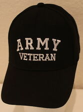 Embroidered Army Veteran Hat Black Adjustable Mens Cap Ballcap Great Gift