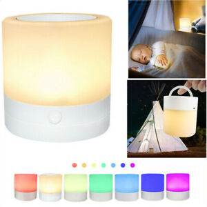 Bedside Table Lamp LED Night Light Decor Dimmable Touch Control USB Rechargeable