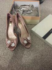Paula Soler High Heels Nude Satin Diamonte Bow Size5