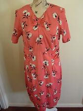 Ladies River Island Coral Pink Flower Dress Size 16