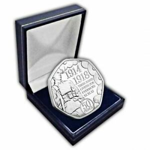 Isle of Man 2018 Remembrance Day Poppy 50p Cupro Nickel Coin in a box