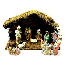 Vintage Porcelain Nativity Scene 11 Porcelain Figures with Wood Stable Orig. Box