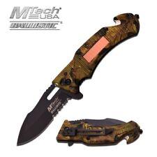 Spring-Assist Folding Pocket Knife Mtech Camo Black Solar Led Light Tactical