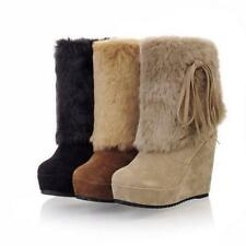 Womens HIGH WEDGE heel PLATFORM WINTER SNOW FUR LINED ANKLE BOOTS PULL ON SHOE