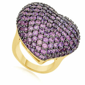 4.55ct Round Amethyst 18k Gold Over Sterling Heart Promise Ring Valentine Gifts