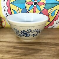 Pyrex Homestead Blue Tan Floral 401 Mixing Bowl Mid Century Glass White Dish Vtg