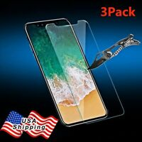 3 Pack Real Tempered Glass Screen Protector Flim For iPhone X/XS/8/7/ 6s 6 Plus