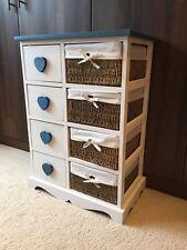 Brand New White Blue Retro Shabby Chic Cabinet Storage 4 Drawers Wicker Baskets