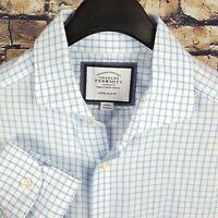CHARLES TYRWHITT Mens White Blue Check Dress Shirt 15-35 Extra Slim Fit
