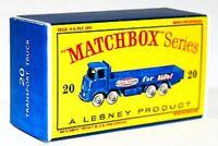 Matchbox Lesney No 20  TRANSPORT TRUCK  empty Repro  style D Box