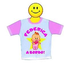 mini t-shirt con ventosa per auto con nome federica a bordo idea regalo  bambina