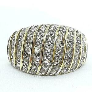 Genuine 1.50ctw H-SI Diamond 14K Yellow Gold 925 Sterling Silver Ring Size 7.75