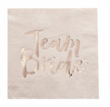 16 Pink & Rose Gold Hen Do Paper Party Napkins - Team Bride Ginger Ray